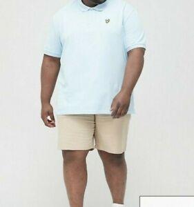 Lyle And Scott Men's Cotton Plain Polo T-shirt Top Light Blue Size 2XL XXL