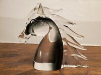 """Large Crystal Horse Head 8"""" Clear Solid Art Glass Sculpture 4.8lb Paperweight"""