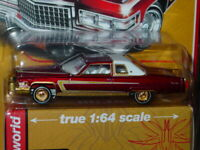 AUTO WORLD 1976 76 CADILLAC COUPE DeVILLE CUSTOM LOWRIDER CAR ULTRA RED CHASE R