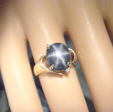 BEAUTIFUL BLUE GENUINE STAR SAPPHIRE 3.99 CT with DIAMONDS 14K GOLD RING