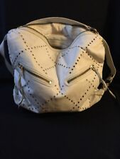 "Linea Pelle Large Leather Tote Hobo White Zebra Shoulder Bag 15"" X 18"""