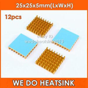 12pcs 25x25x5mm Aluminum Heatsink Cooler With Thermal Adhesive Pad