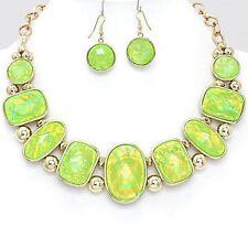 GREEN   / gold  opal bib ELEGANT NECKLACE  / EARRING SET V J8