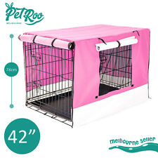 """42"""" Pet Dog Puppy Cage Waterproof Cover Collapsible Metal Crate Kennel Cat"""