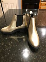 Heiress Womens 38/ Size 7.5 Gold Leather Boots, NEW!