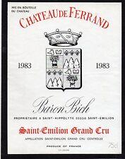 SAINT EMILION GC ETIQUETTE CHATEAU DE FERRAND 1983 75 CL      §18/04/17§
