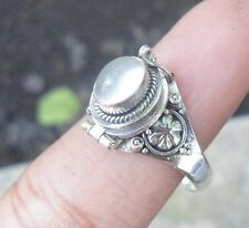 925 Solid Silver Balinese Style Poison Locket RIng Moonstone Size 7-66H