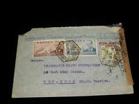 Vintage Cover, BARCELLONA, SPAIN, CENSORED, 1941, Multi-Stamped To New York City