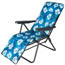 Sedia Sdraio Imbottita Reclinabile Poltrona Relax Struttura Metallo Fiori Blu