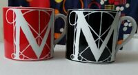 One Red and white And one Black and white Letter M Mugs By MMA Made In Japan