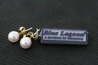 Mikimoto Blue Lagoon 14k Yellow Gold 6.7mm Genuine White Pearl Stud Earrings