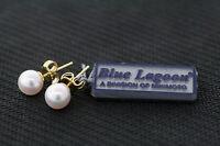 Mikimoto Blue Lagoon 14k Yellow Gold 6.0mm Genuine White Pearl Stud Earrings