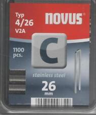 Novus Schmalrückenklammern 26 mm, aus Edelstahl, 1100 Klammern vom Typ C4/26 V2A