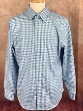 Banana Republic Non Iron Slim Long Sleeve Shirt Blue Plaid Men's L 16-16.5 34/35