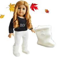 "Doll Clothes 18"" Boots Knit Ivory Made To Fits American Girl Dolls"
