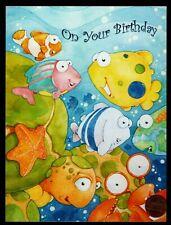 Birthday Fish Clown Crab Starfish Ocean Bubbles - Birthday Greeting Card