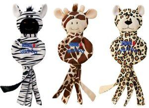 KONG Wubba No Stuff Cheetah, Giraffe or Zebra Dog Toy Shake Fetch Play Squeaky L