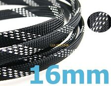 16mmx5m SILVER BLACK Expandable Braided DENSE Cable Sleeve High Densely Audio