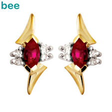 New Ruby Diamond 9ct 9k Solid Yellow Gold Stud Earrings 54720/CR