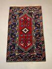 Vintage Turkish Tribal Rug 200x124 cm Wool Carpet Red Navy Blue Beige Medium