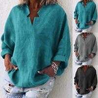 Women Plus Size Solid Linen Star V-Neck Tops Casual Pocket Blouse Shirts NA