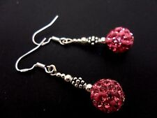 A PAIR OF PINK SHAMBALLA BEAD EARRINGS WITH 925 SOLID SILVER HOOKS. NEW
