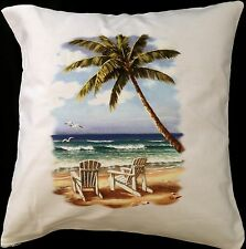 Adirondack Chair Scene Themed Cotton Cushion Cover - Perfect Gift
