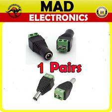 1 Pair 5.5mm x 2.1mm DC Power Line Plug Male & Female Socket Screw Terminal