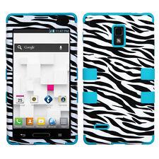 For T-Mobile LG Optimus L9 P769 IMPACT TUFF HYBRID Phone Case Cover Zebra Teal