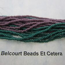 48 Grams Dark Green and Mauve Opaque Czech Glass Preciosa Seed Beads Size 10