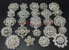 Lot24 Mixed Silver Rhinestone Crystal Brooches Pins DIY Wedding Bouquet 12M+12S