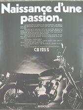 PUBLICITE DE PRESSE HONDA CB 125 S MOTO NAISSANCE D'UNE PASSION FRENCH AD 1971