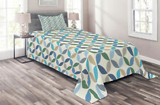 Modern Quilted Coverlet & Pillow Shams Set, Oval Point Stripes Print