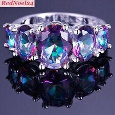 Feminine Oval Cut Rainbow Mystic Topaz  925 Stamped Silver Ring Size 7 - N