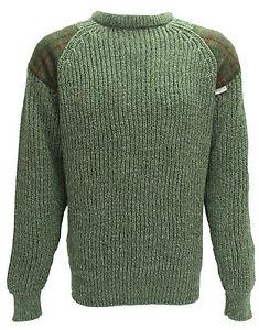 Classic Crew neck sweater   Harris Tweed patches   100% British Wool   # 41120