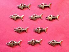 TIBETAN SILVER FISH BONE CHARMS - 10 per pacco