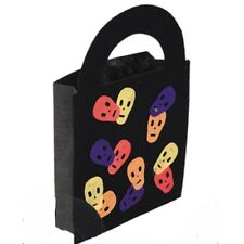 Sac à bonbons noir motifs têtes de mort en couleur 20 x 29 cm 839tetem halloween