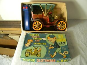 1950'S TIN CAR ELECTRIC REMOTE CONTROL OLDTIMERS NO 801 NEAR MINT IN BOX