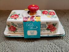 NEW in Packaging - The Pioneer Woman Teal Vintage Floral BUTTER DISH