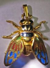 18K ITALIAN GOLD DESIGNER HORSE FLY BUG INSECT PENDANT IMPORTED FROM SICILY