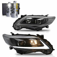 Customized LED Headlights w/DRL+VLAND H7 LED Bulb for 2011-2013 COROLLA Assembly