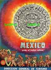"""Mexico  -Aztec Tablet and Warriors  - Travel Poster  - 8.5"""" X 11"""""""