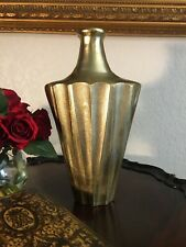 Vintage Large Gold Metal Vase Decor Brass ? 13 1/2 Inches Tall