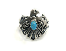 Native American Sterling Silver Navajo Handmade Turquoise Thunderbird Ring 7