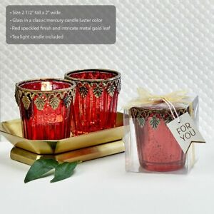 10-96 Red Mercury Glass East Asian Themed Votive Candle - Wedding Party Favors