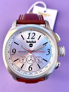 Timberland Men's Wrist Watch Leather Strap Brown Line Chronograph Glenwood
