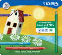 NEU: 18 dicke Lyra Farb Riesen Stifte Farbstifte Buntstifte Malstifte Metalletui