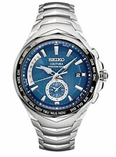 NEW SEIKO COUTURA RADIO SYNC SOLAR WORLD TIME DAY AND DATE BLUE DIAL SSG019