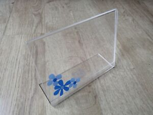 4x6'' Photo Holder Blue Flower Display Title Plate PVC Memory Family Holiday Fun