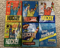 ALL(6)1987-88-89-90-91-92-Topps Hockey Wax Packs Cards-Robitaille-Hull-Sakic-RC?